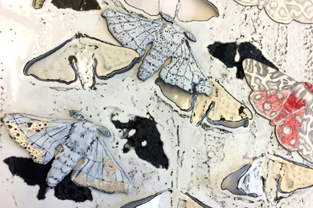 Carly Wilshere-Butler. Latest artist in The Maker. Combination of enamel and water jet cut glass work, based on moths. Click to learn more.
