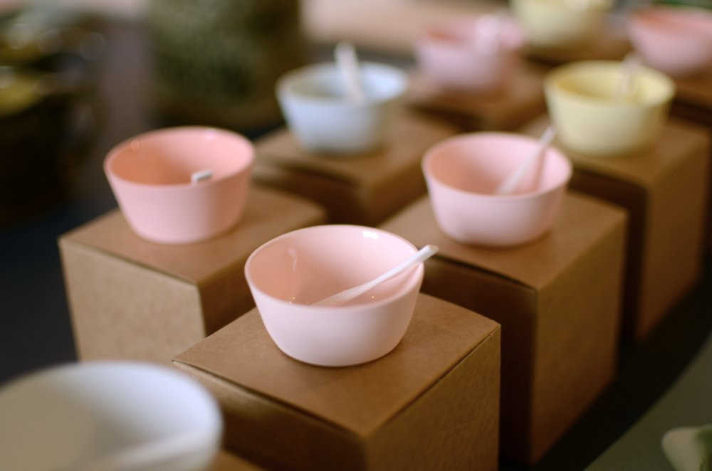Small, colourful ceramics bowls by Anne Gibbs