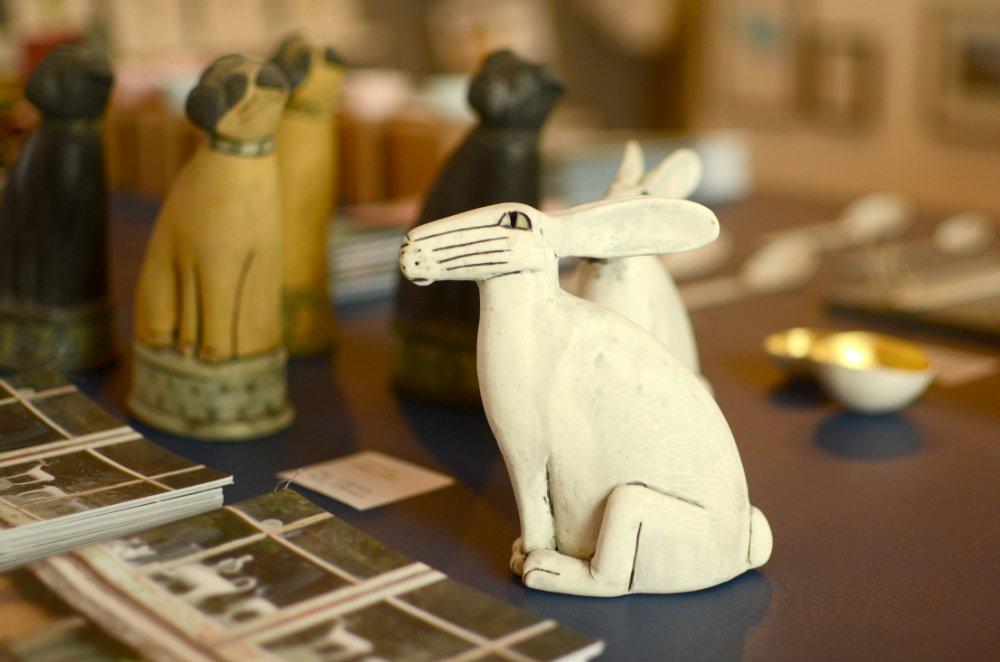 White ceramic hare by Anna Noel